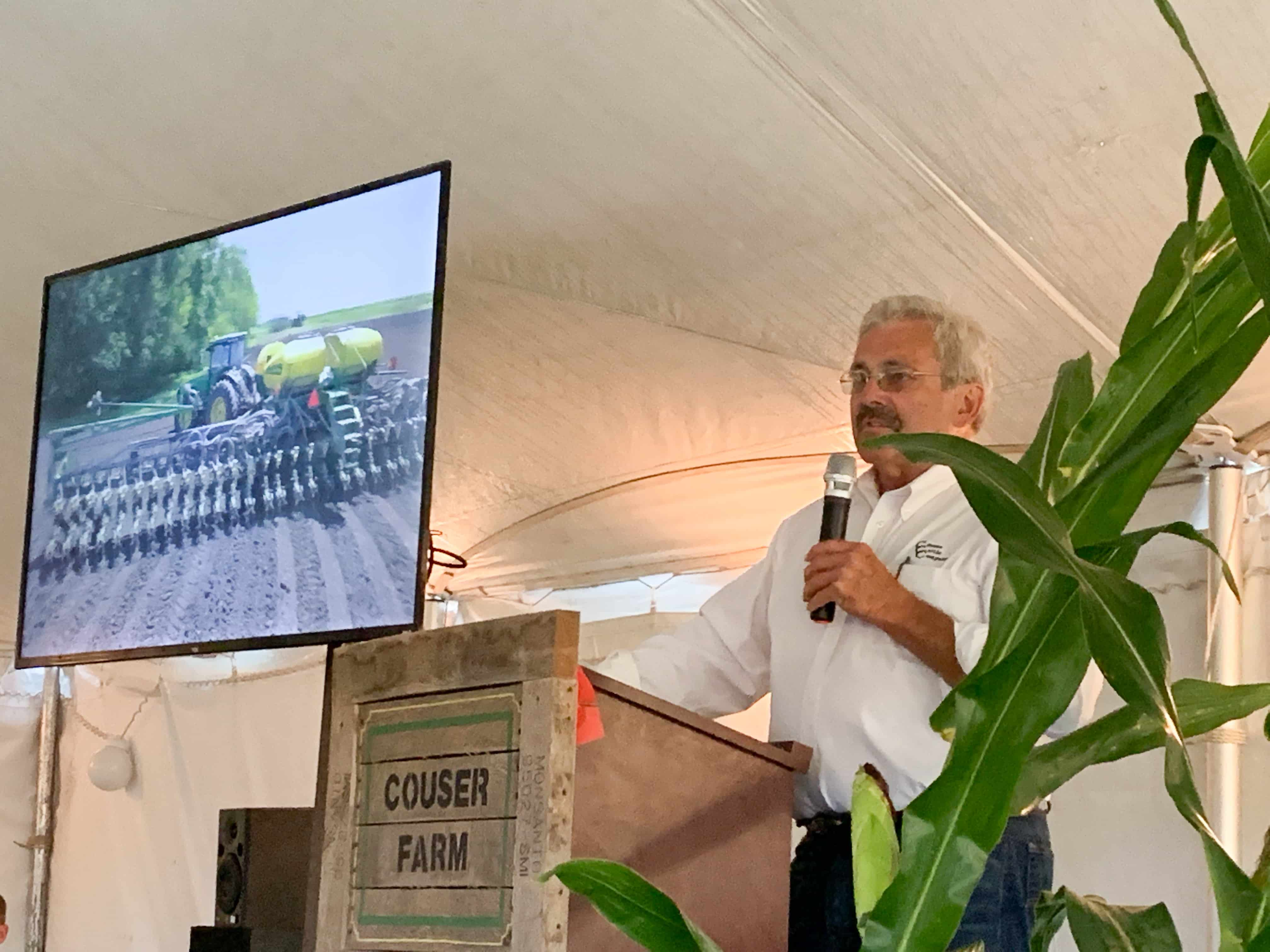 Bill Couser addresses more than 100 attendees during the 2019 Conservation Technology Information Center's tour stop at his AGvocacy Learning Farm.